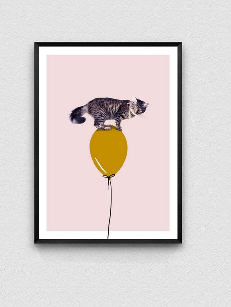affiche deco enfant collage chat ballon