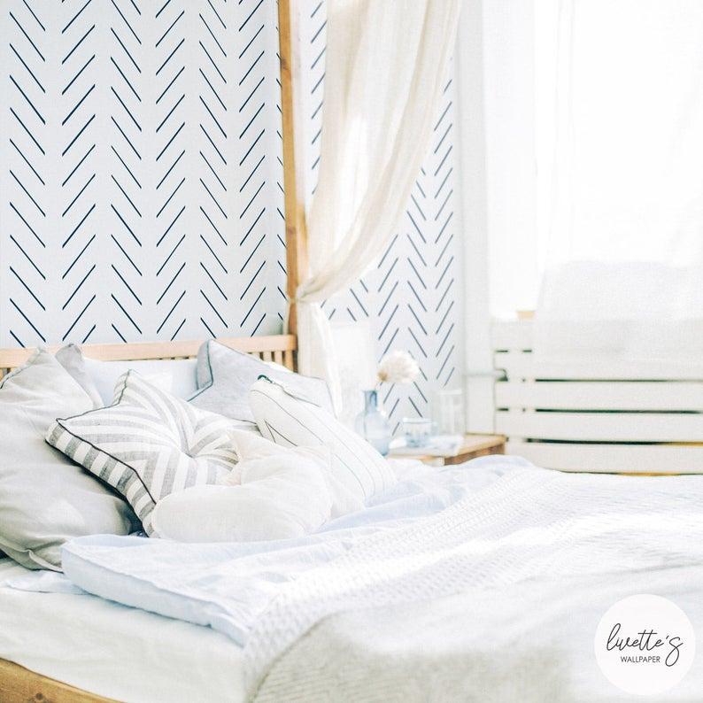 papier peint minimaliste banc bleu chambre