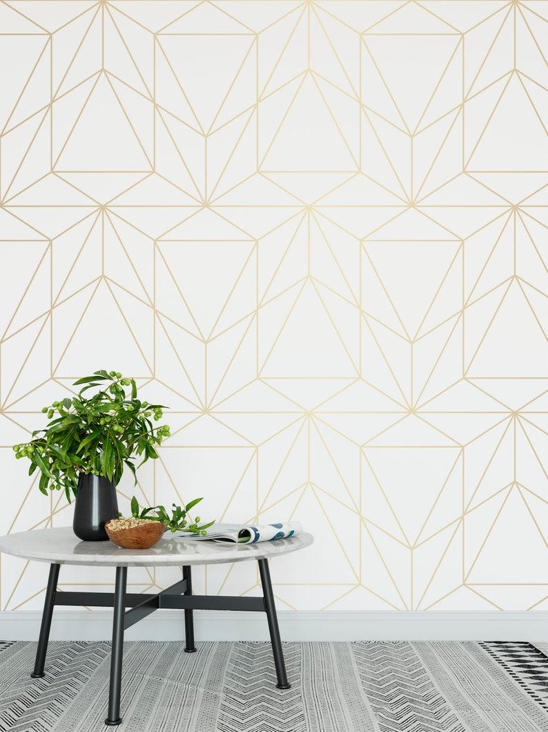 papier peint minimaliste blanc or motif