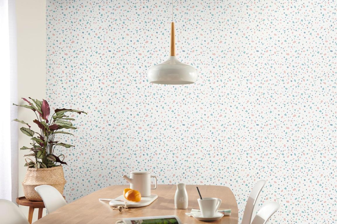 papier peint minimaliste effet terrazzo