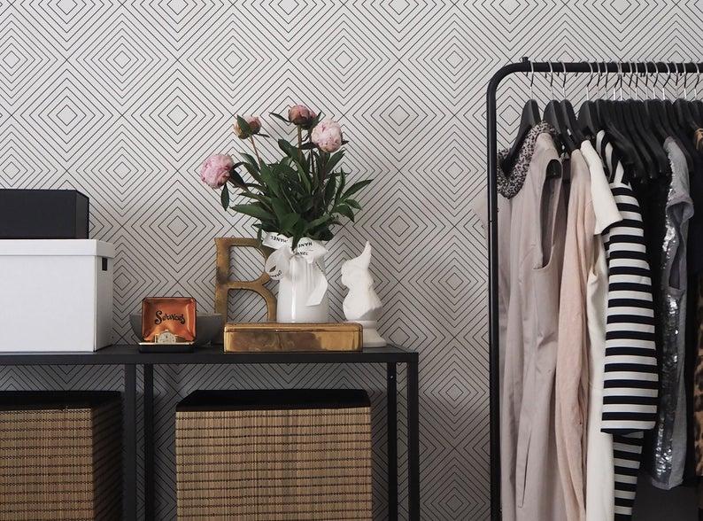 papier peint minimaliste losange noir et blanc