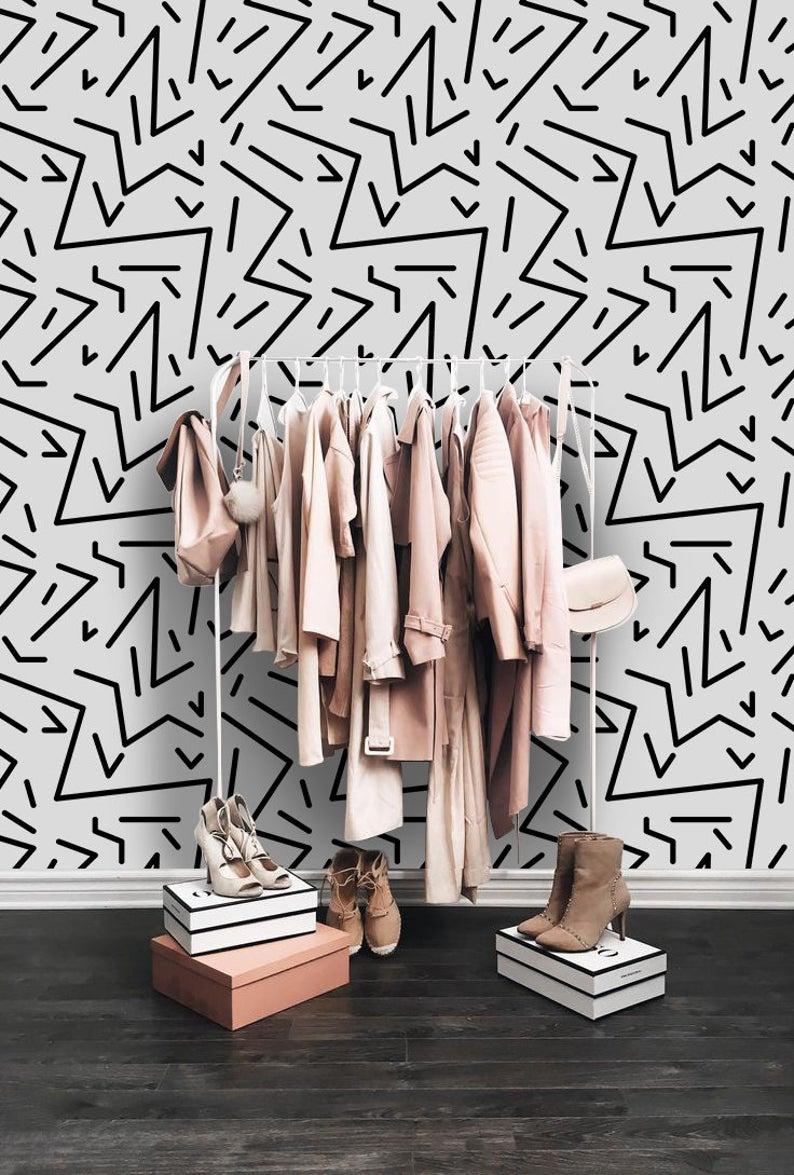 papier peint minimaliste motif blanc noir graphique
