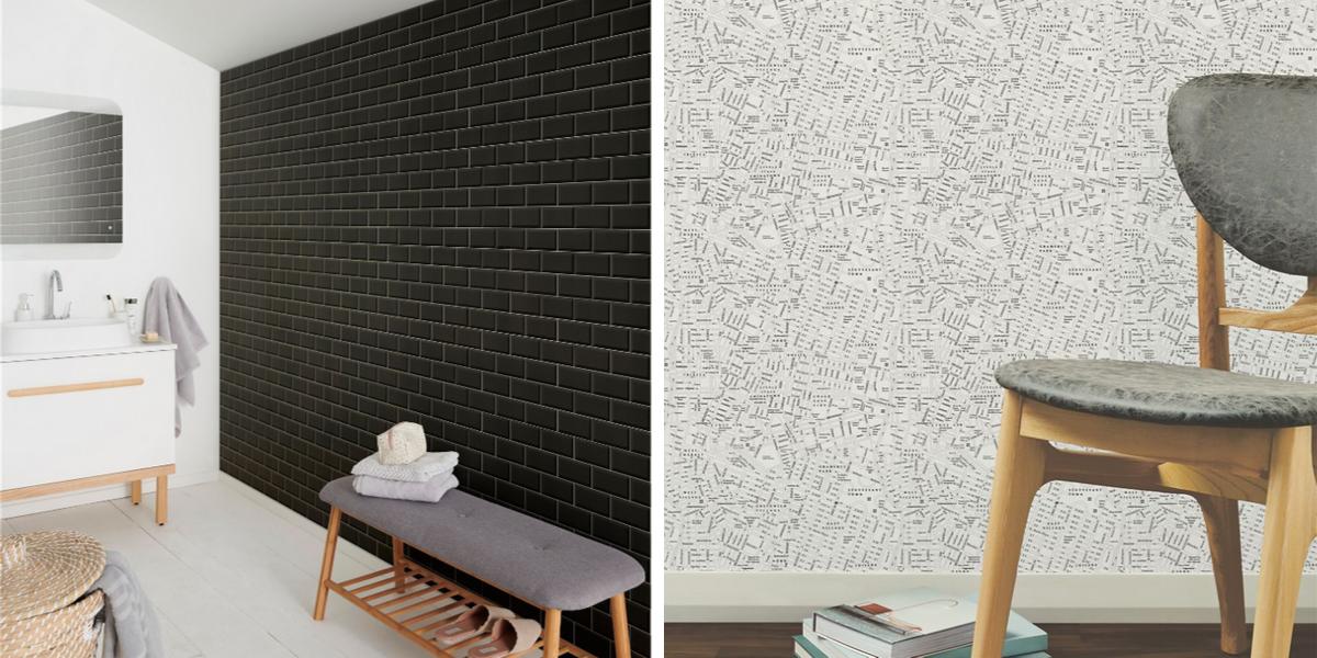 papier peint minimaliste noir et blanc idee pas chere