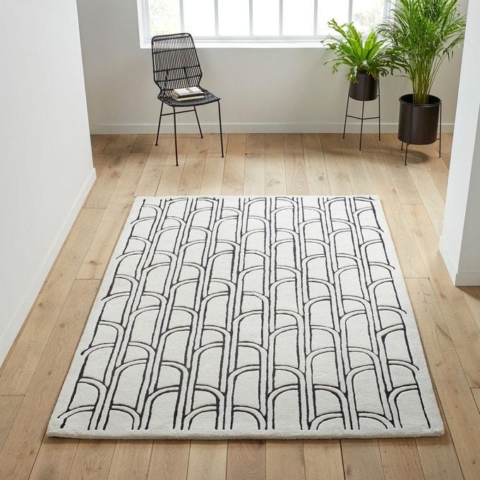 tapis motif art deco noir et blanc
