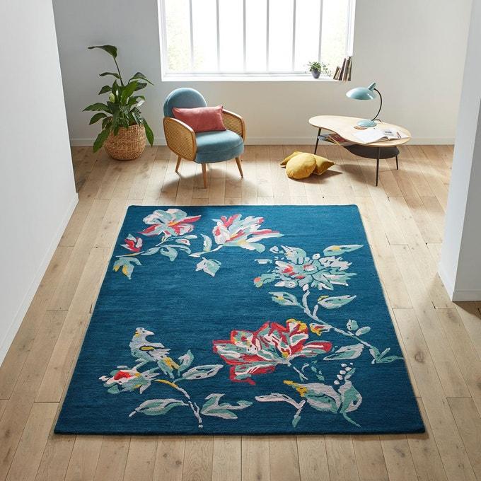 tapis motif floral bleu