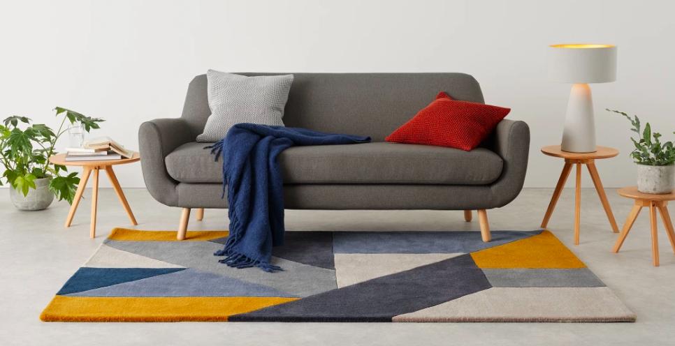 tapis motif geometrique couleur masculine