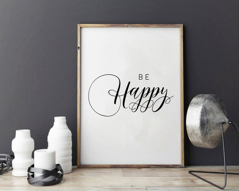 affiche deco murale be happy