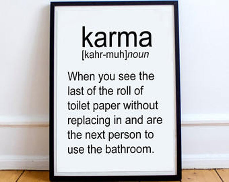 affiche deco murale citation karma toilette