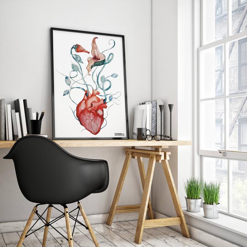 deco rock pink floyd affiche coeur et plante