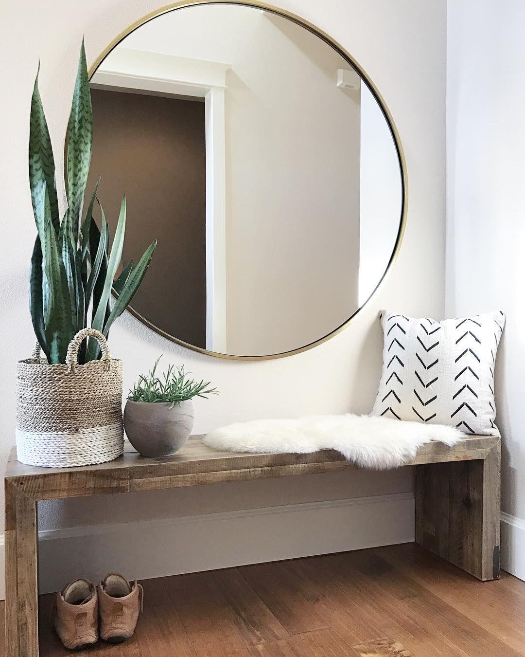 grand miroir rond entree banc