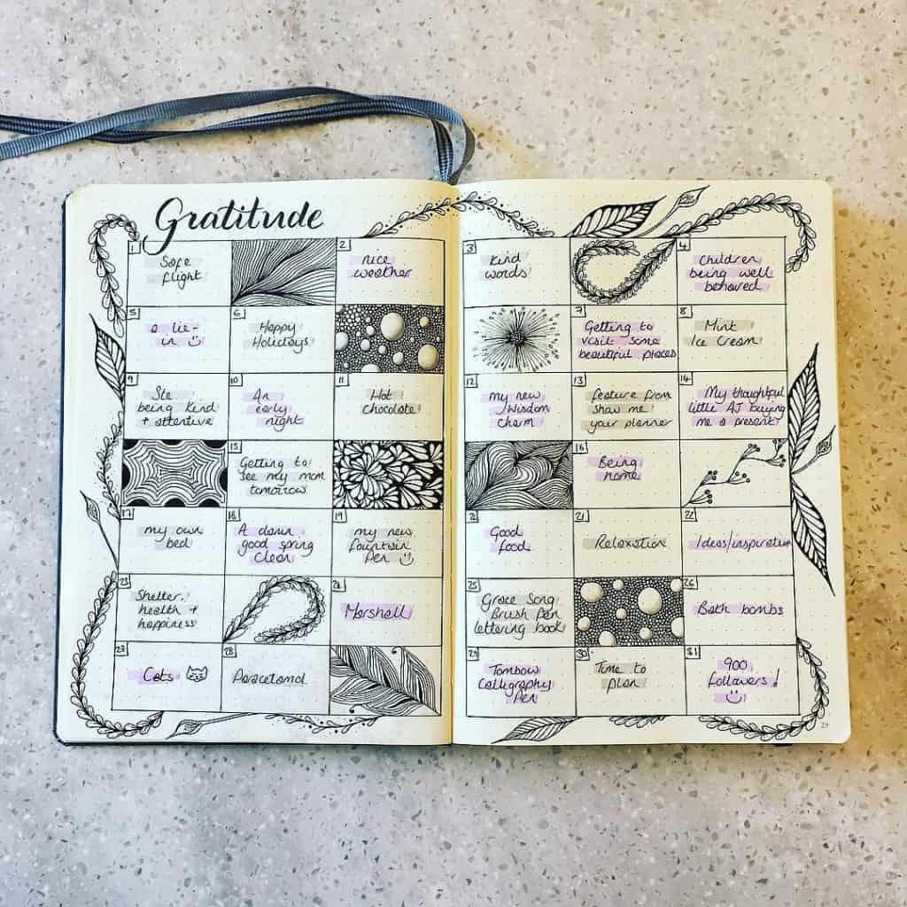 journal creatif slow calendrier noir et blanc