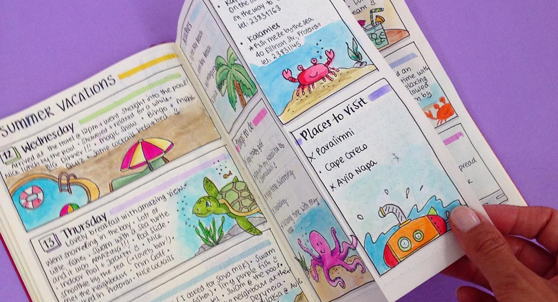 journal creatif vacances idee souvenir