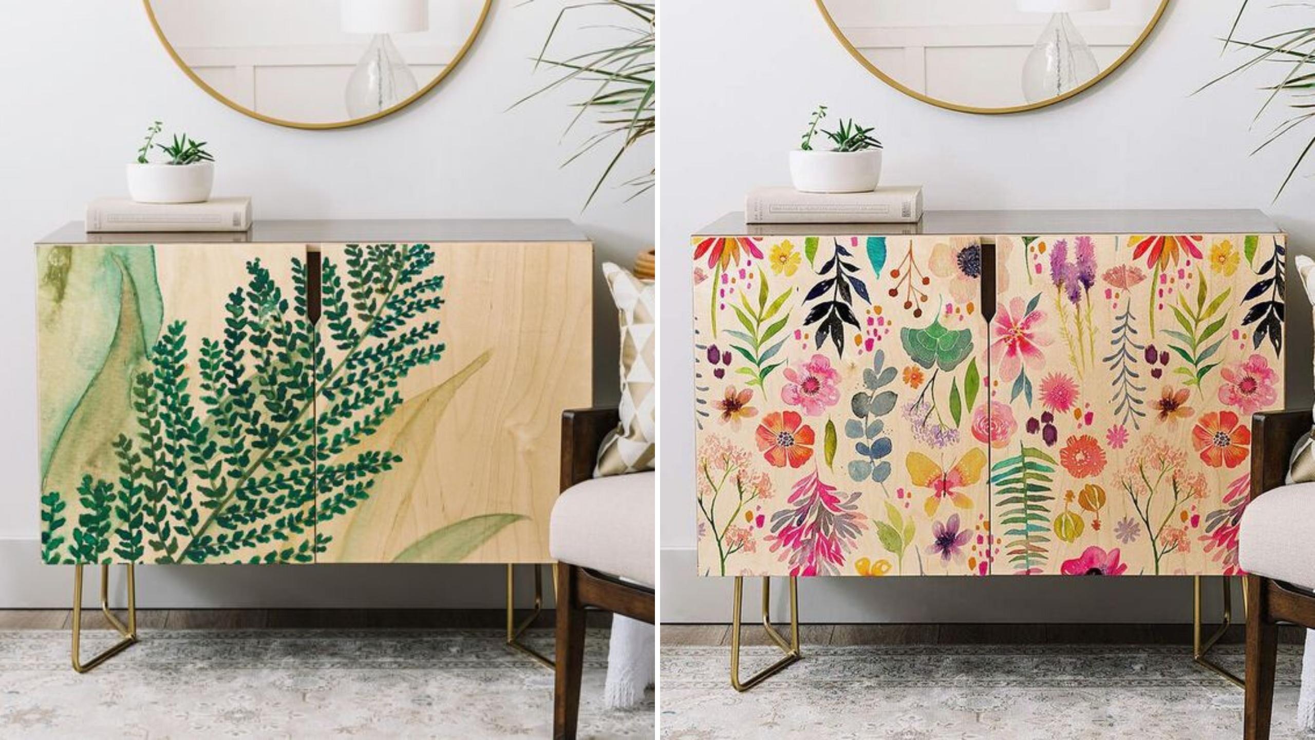 meuble personnalise fleur et plante