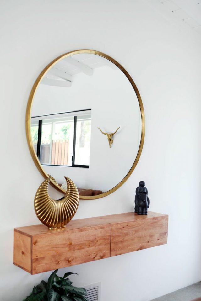 exemple décoration intérieure entrée -  miroir entree console bois epuree
