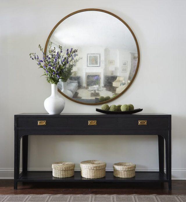 exemple décoration intérieure entrée -  miroir entree console classique deco