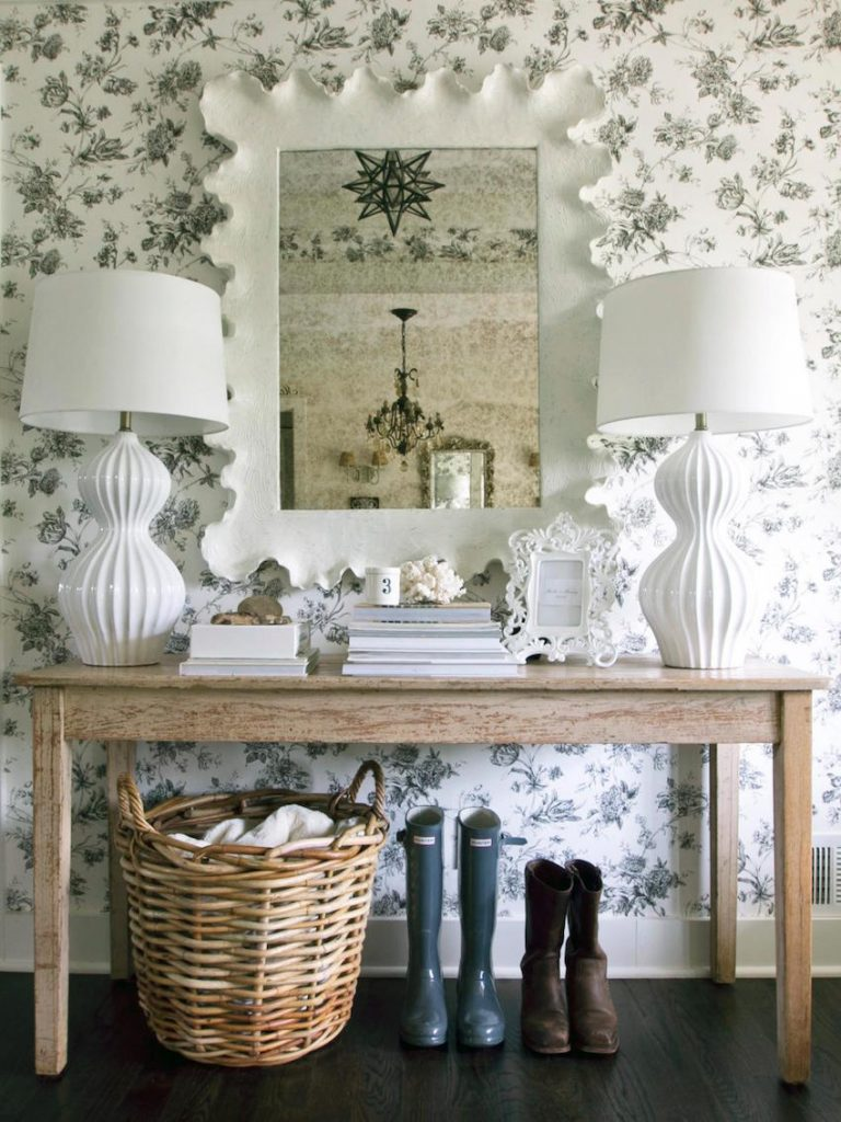 miroir entree lampes a poser deco campagne