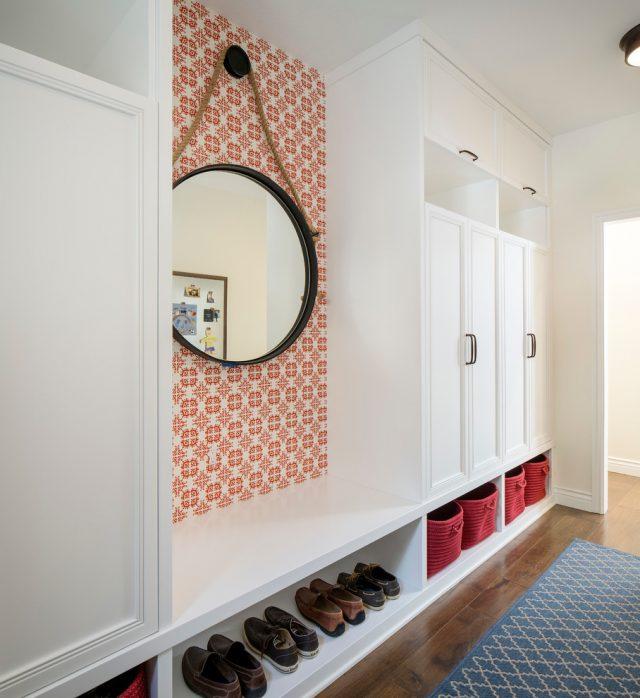 exemple décoration intérieure entrée -  miroir entree papier peint deco murale