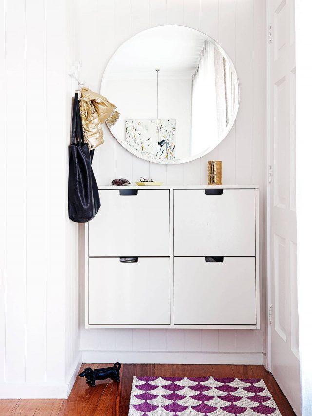 exemple décoration intérieure entrée -  miroir entree petit espace meuble a chaussures