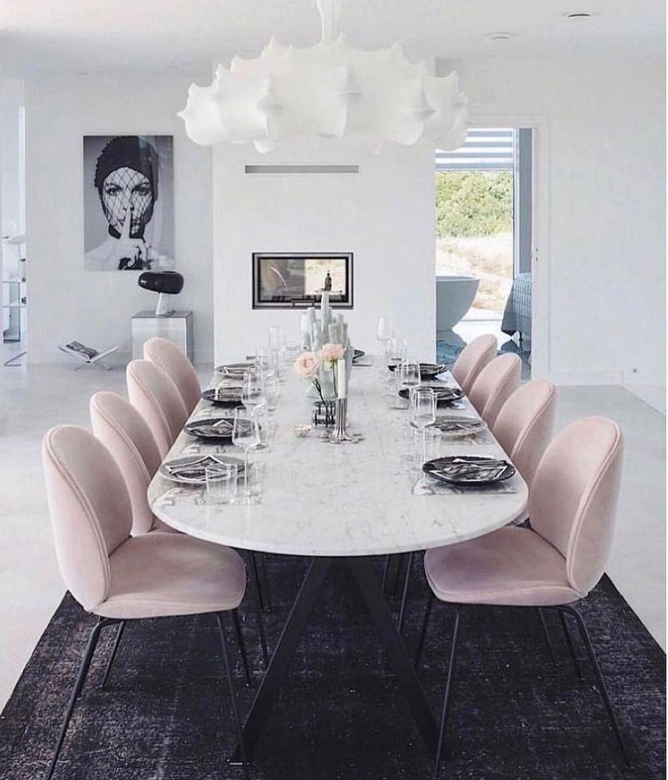 salle a manger elegante et feminine blanc