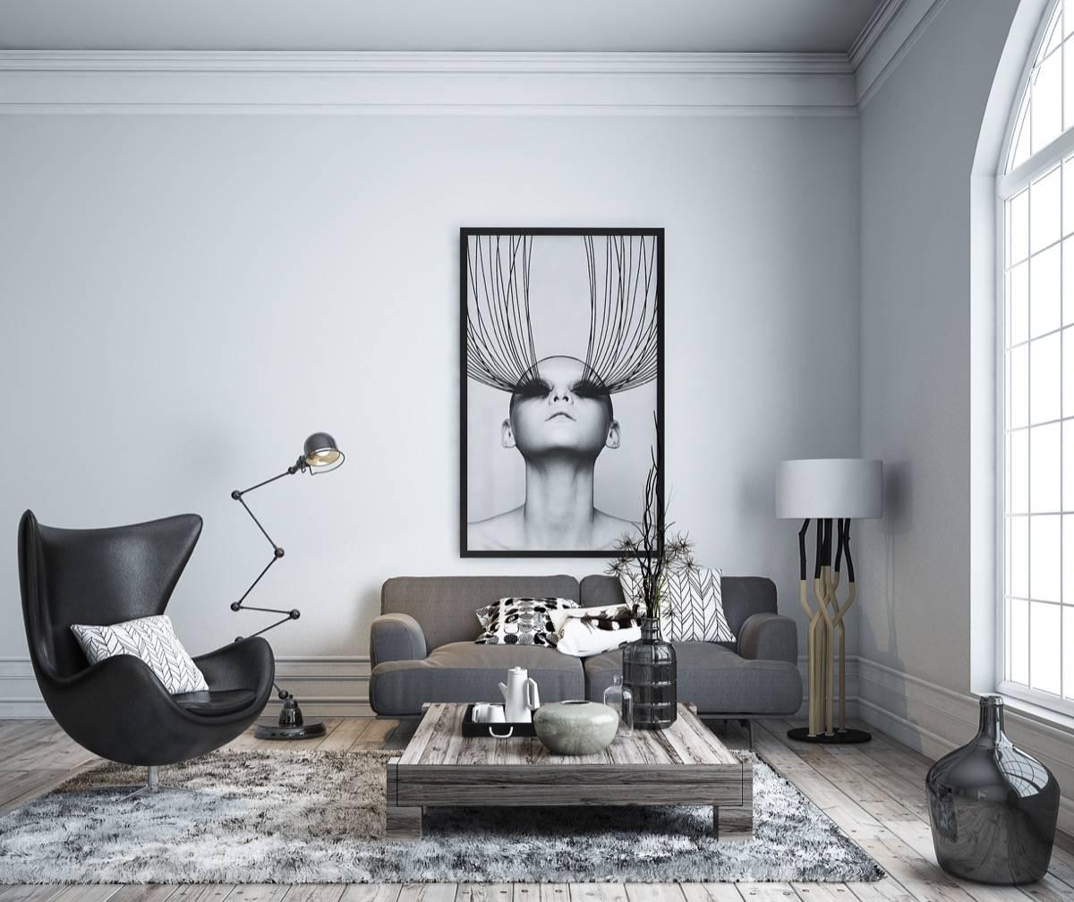 salon noir ambiance minimaliste et moderne