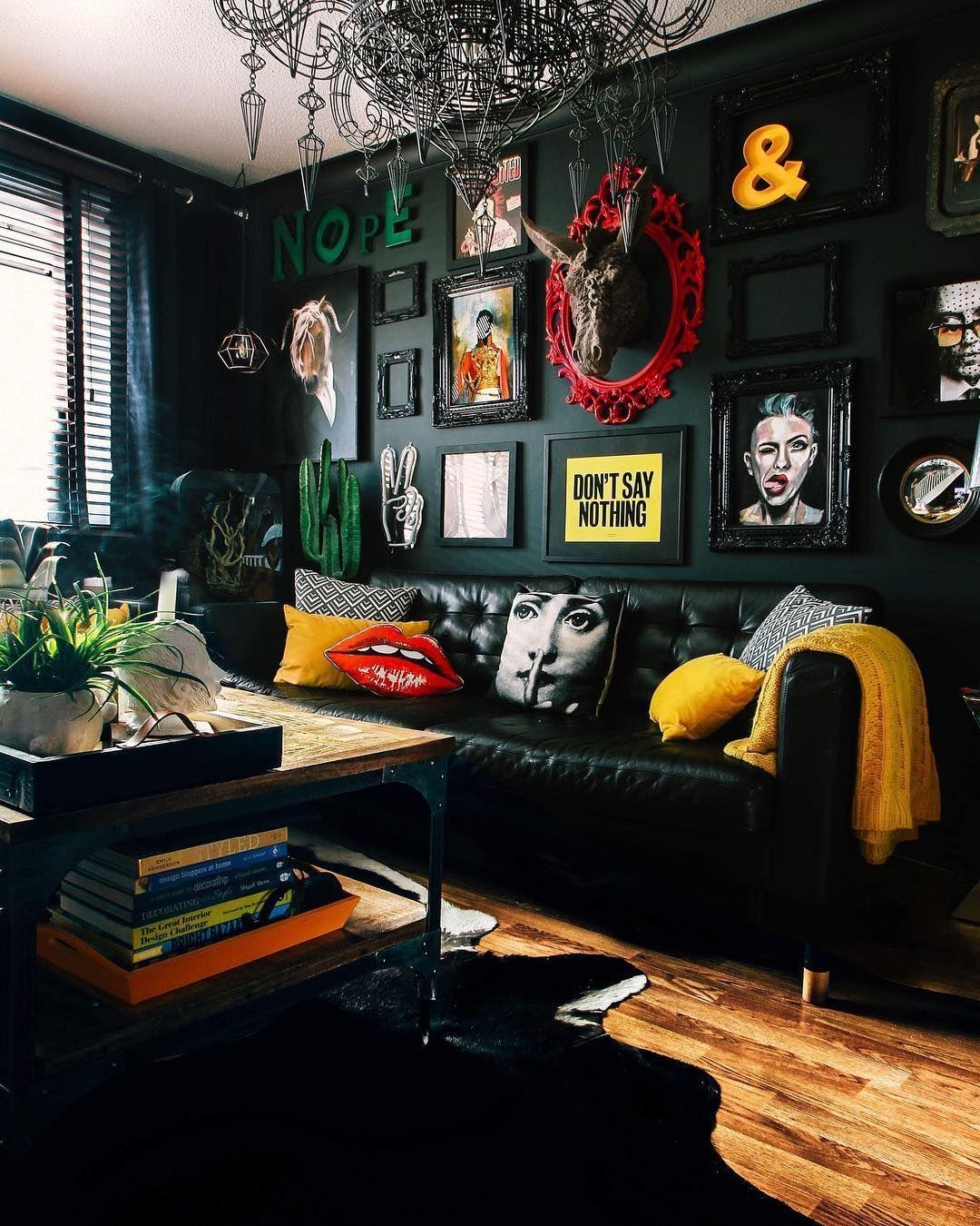 salon noir ambiance pop et art