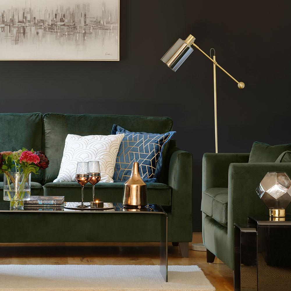 salon noir canape velours vert olive