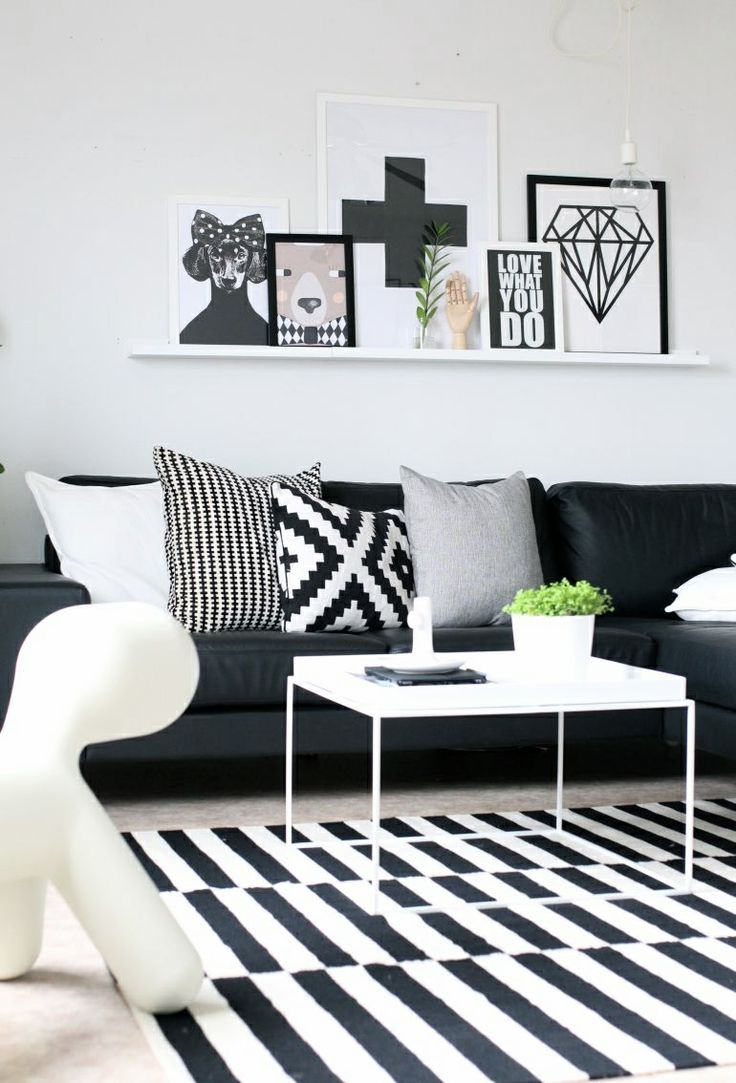 salon noir decoration actuelle epuree