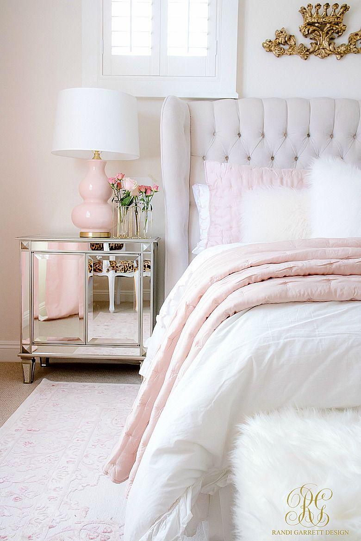 chambre deco elegante charme blanc et rose