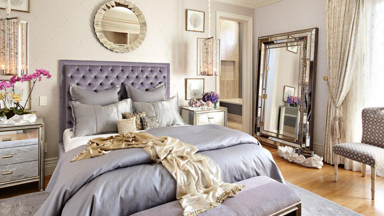 chambre deco elegante feminie violet parme