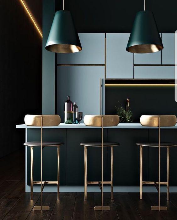 couleur or et foncee cuisine elegante