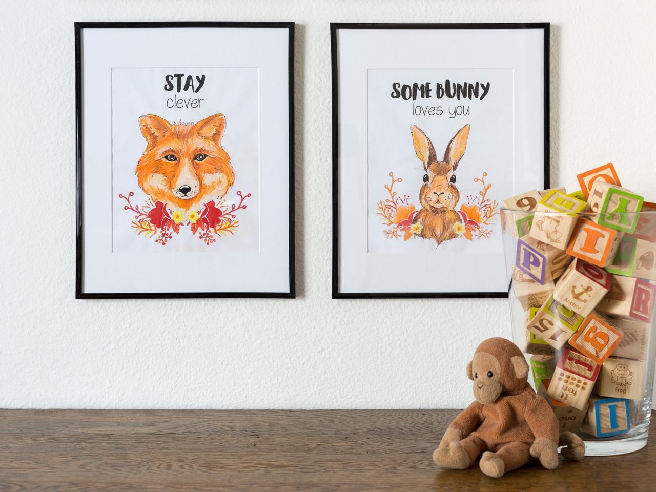 deco enfant cadre illustrations animaux