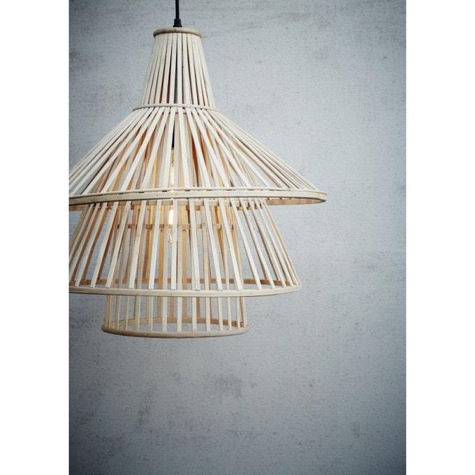 luminaire rotin abat jour bambou naturel