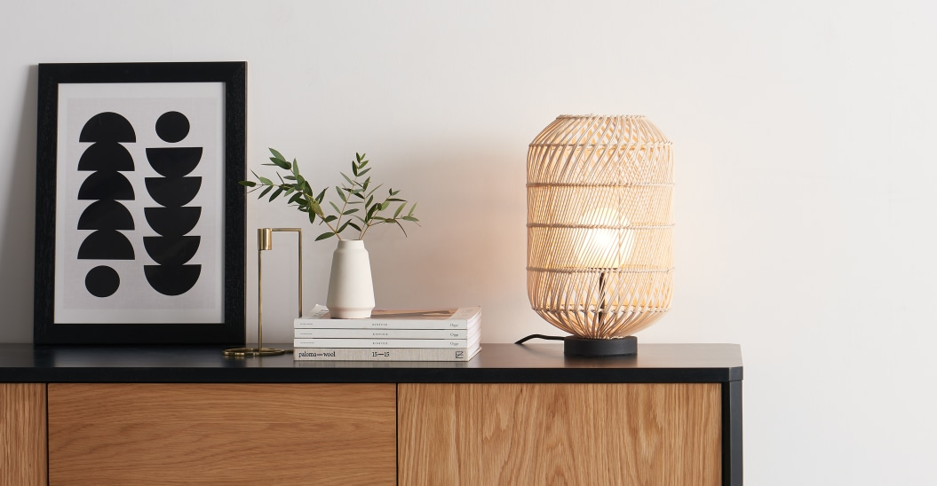 luminaire rotin lampe a poser tendance