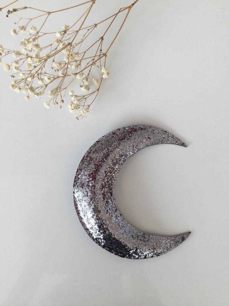 nouvel an deco murale lune paillette