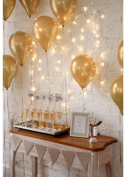 nouvel an paillette decoration ballon or