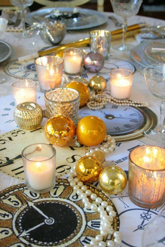 nouvel an paillettes decoration table glamour