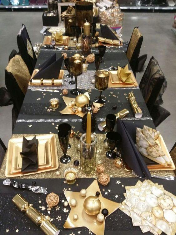 nouvel an decoration paillette table