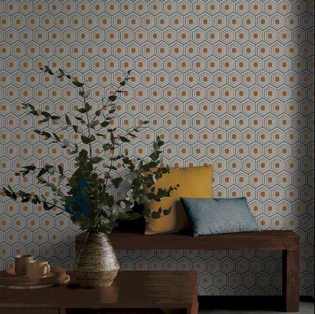papier peint chambre motif geometrique