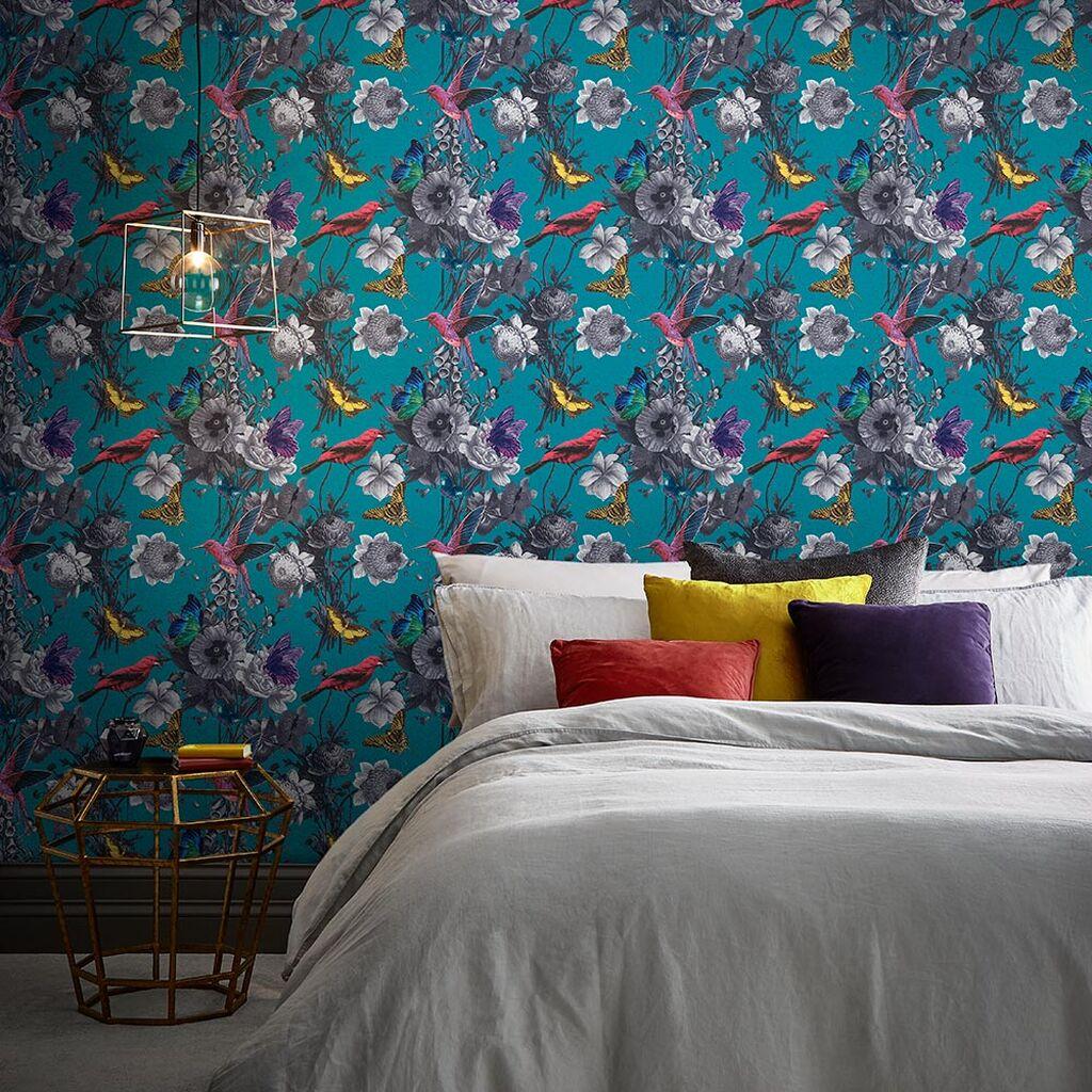 papier peint chambre motif jardin fleur oiseau