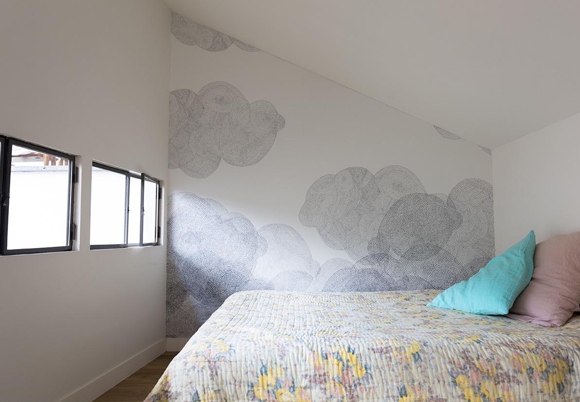 papier peint chambre motif nuage graphique