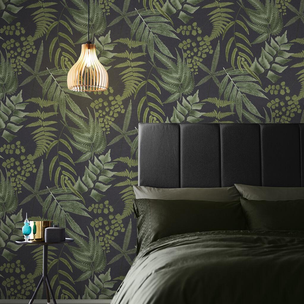 papier peint chambre vegetal sombre