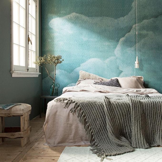 papier peint motif chambre nuage bleu vert