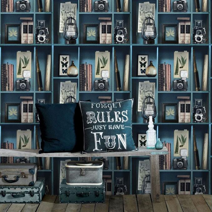 salle a manger papier peint motif cabinet curiosite
