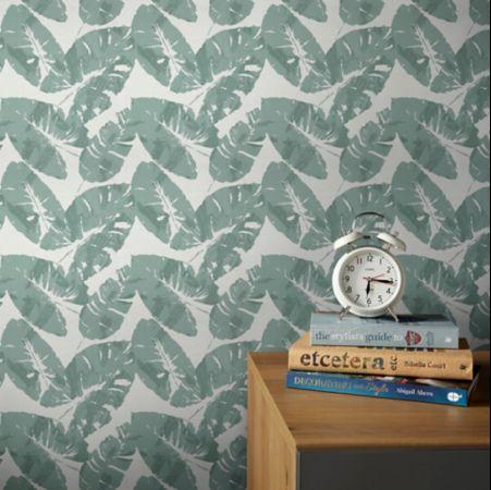 salle a manger papier peint motif feuille tropicale simple
