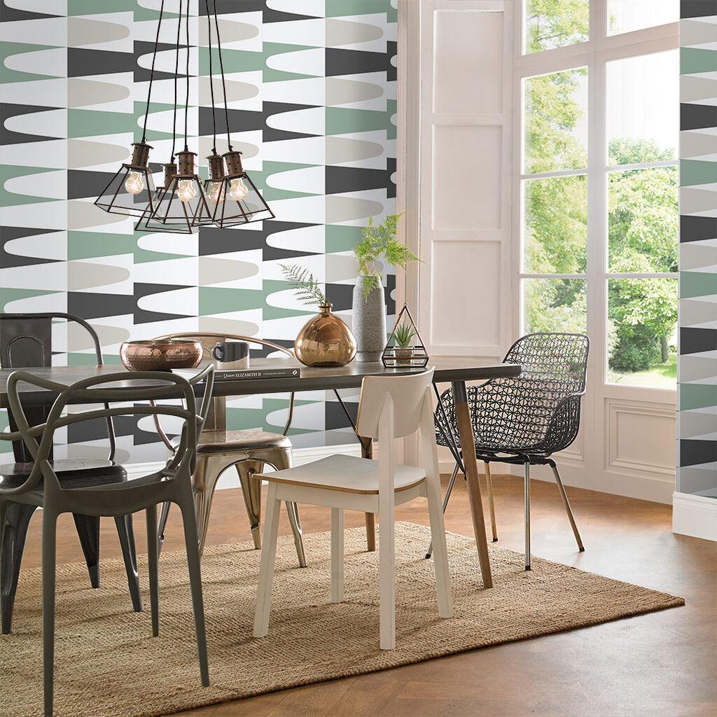 salle a manger papier peint motif geometrique vintage