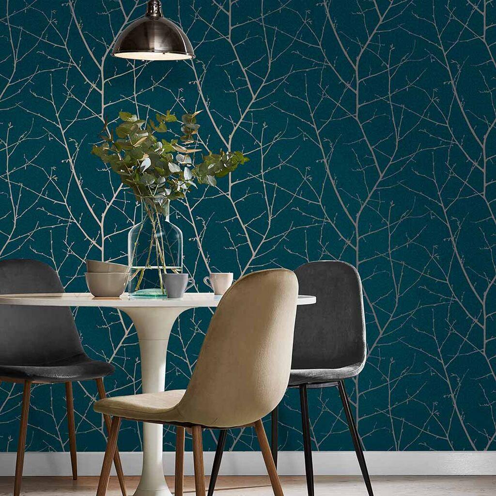 salle a manger papier peint motif nature elegante