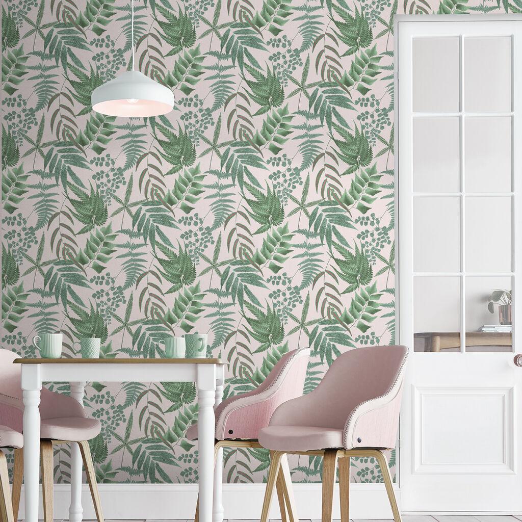 salle a manger papier peint motif tropical rose vert
