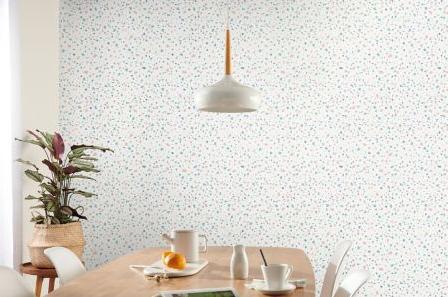salle a manger papier peint terrazzo