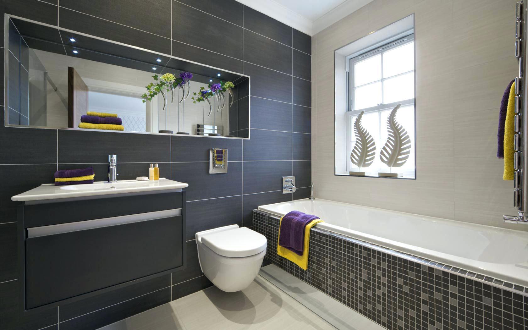 couleur sombre salle de bain gris anthracite carrelage