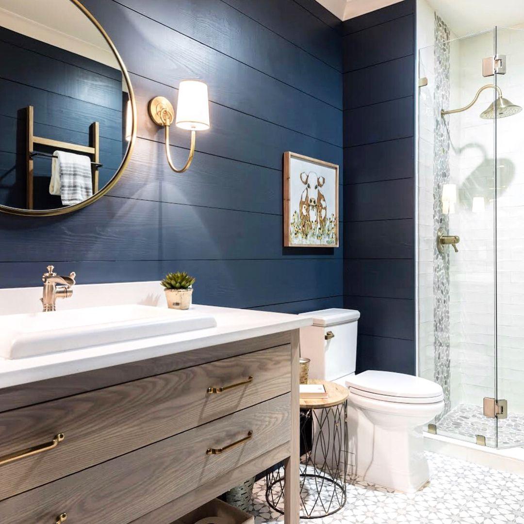 couleur sombre salle de bain bleu mur